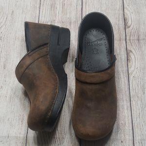Brown Leather Dansko Clogs